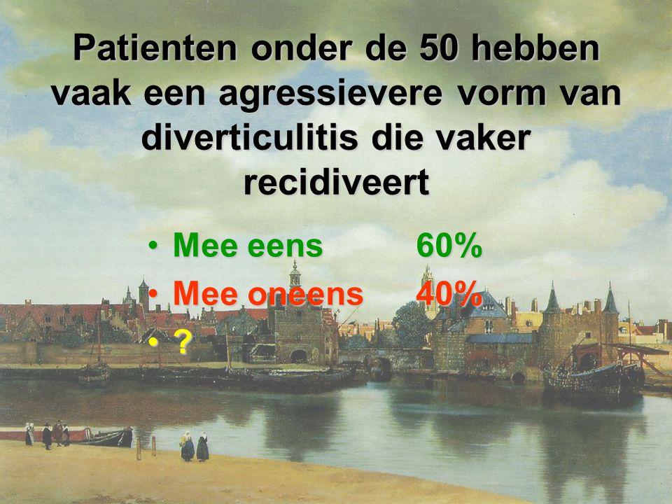 Patienten onder de 50 hebben vaak een agressievere vorm van diverticulitis die vaker recidiveert Mee eens60%Mee eens60% Mee oneens40%Mee oneens40% ?