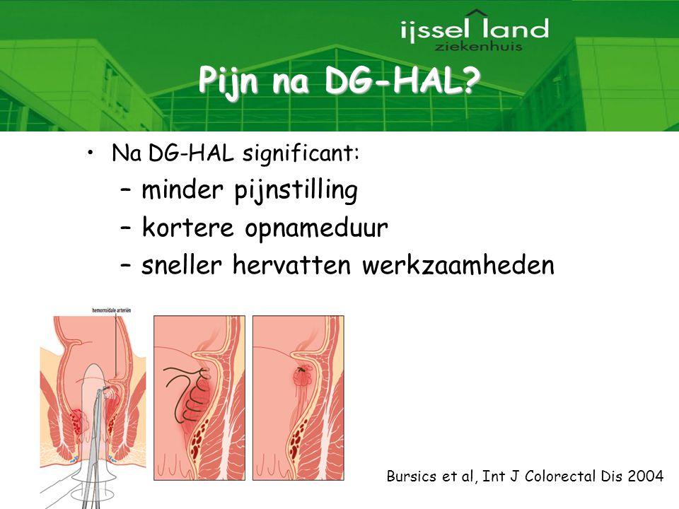 20 Pijn na DG-HAL? Na DG-HAL significant: –minder pijnstilling –kortere opnameduur –sneller hervatten werkzaamheden Bursics et al, Int J Colorectal Di