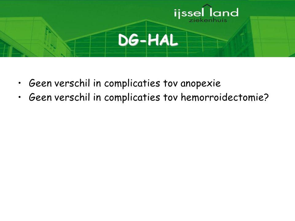34 DG-HAL Geen verschil in complicaties tov anopexie Geen verschil in complicaties tov hemorroidectomie?