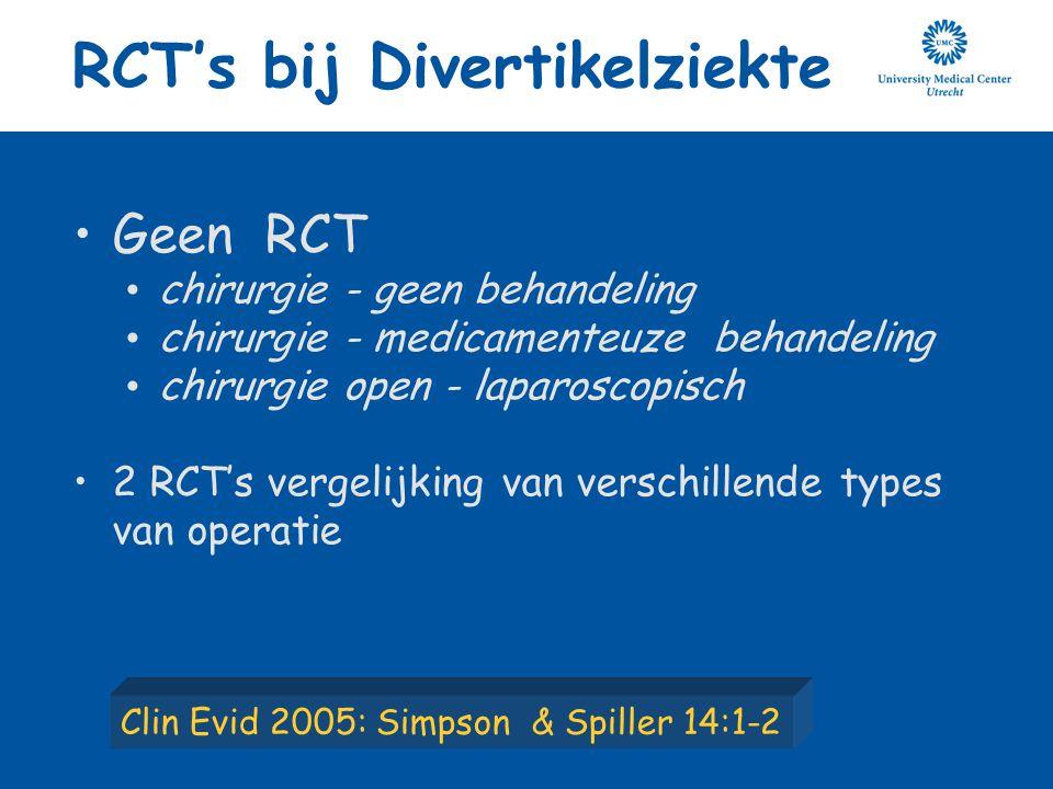 Geen RCT chirurgie - geen behandeling chirurgie - medicamenteuze behandeling chirurgie open - laparoscopisch 2 RCT's vergelijking van verschillende ty