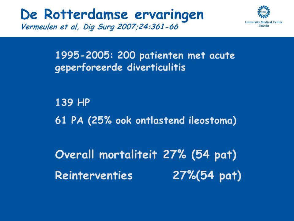 De Rotterdamse ervaringen Vermeulen et al, Dig Surg 2007;24:361-66 1995-2005: 200 patienten met acute geperforeerde diverticulitis 139 HP 61 PA (25% o