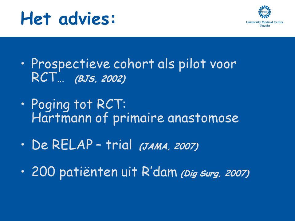 Het advies: Prospectieve cohort als pilot voor RCT … (BJS, 2002) Poging tot RCT: Hartmann of primaire anastomose De RELAP – trial (JAMA, 2007) 200 pat