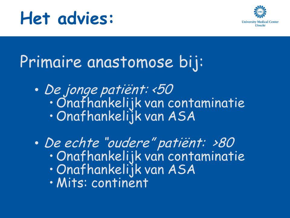 """Het advies: Primaire anastomose bij: De jonge patiënt: <50 Onafhankelijk van contaminatie Onafhankelijk van ASA De echte """"oudere"""" patiënt: >80 Onafhan"""