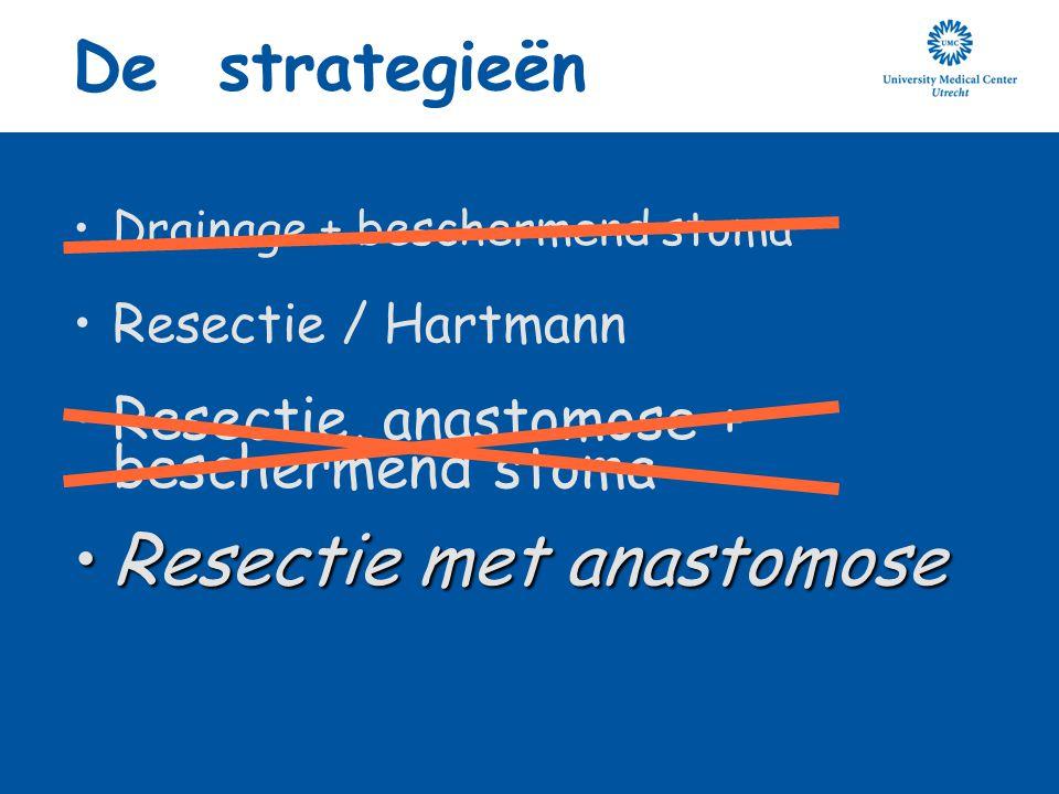 De strategieën Drainage + beschermend stoma Resectie / Hartmann Resectie, anastomose + beschermend stoma Resectie met anastomoseResectie met anastomos