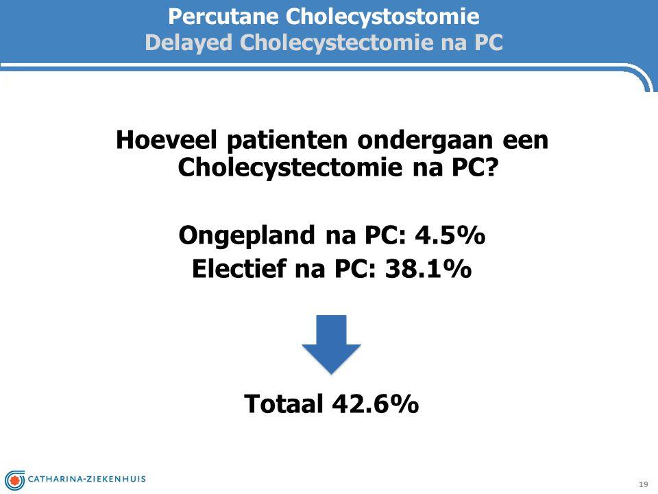 Percutane Cholecystostomie Delayed Cholecystectomie na PC 19 Hoeveel patienten ondergaan een Cholecystectomie na PC? Ongepland na PC: 4.5% Electief na