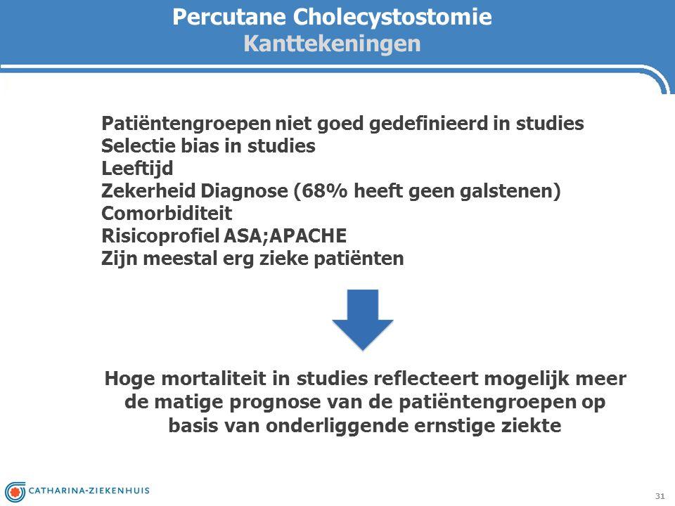 Percutane Cholecystostomie Kanttekeningen 31 Hoge mortaliteit in studies reflecteert mogelijk meer de matige prognose van de patiëntengroepen op basis