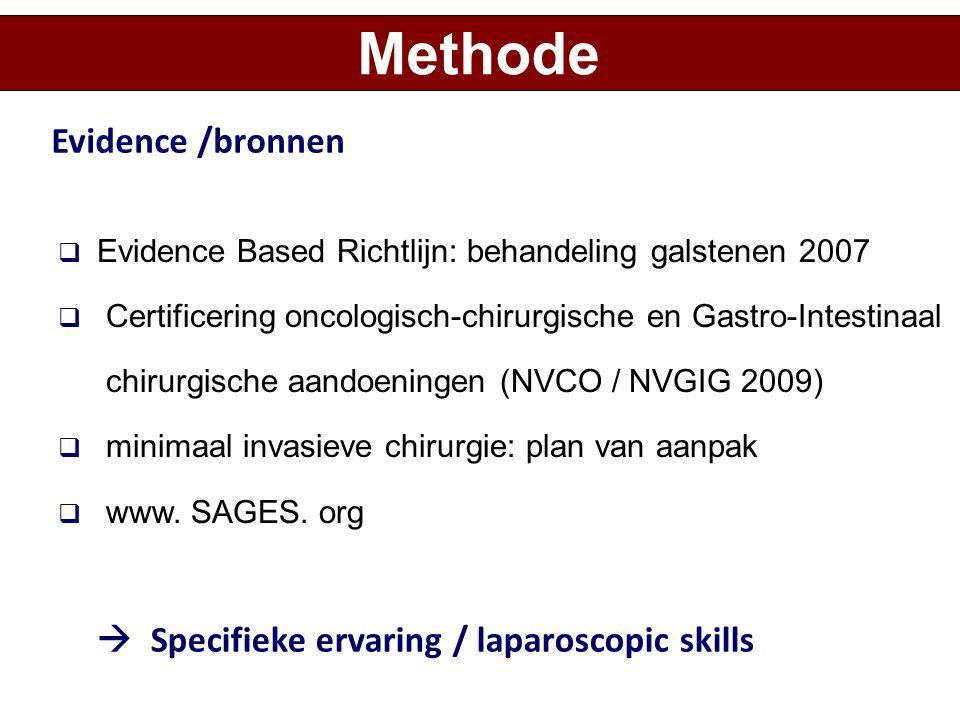  Evidence Based Richtlijn: behandeling galstenen 2007  Certificering oncologisch-chirurgische en Gastro-Intestinaal chirurgische aandoeningen (NVCO
