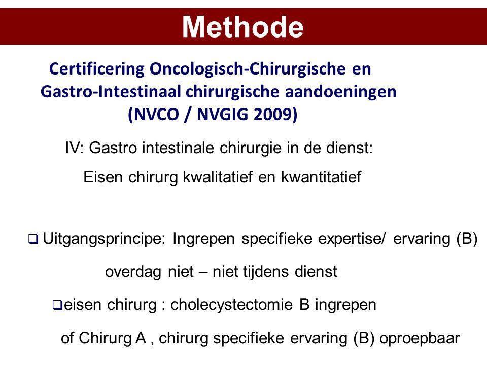 IV: Gastro intestinale chirurgie in de dienst: Eisen chirurg kwalitatief en kwantitatief  Uitgangsprincipe: Ingrepen specifieke expertise/ ervaring (