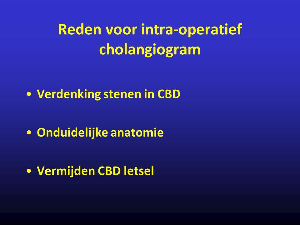 Reden voor intra-operatief cholangiogram Verdenking stenen in CBD Onduidelijke anatomie Vermijden CBD letsel