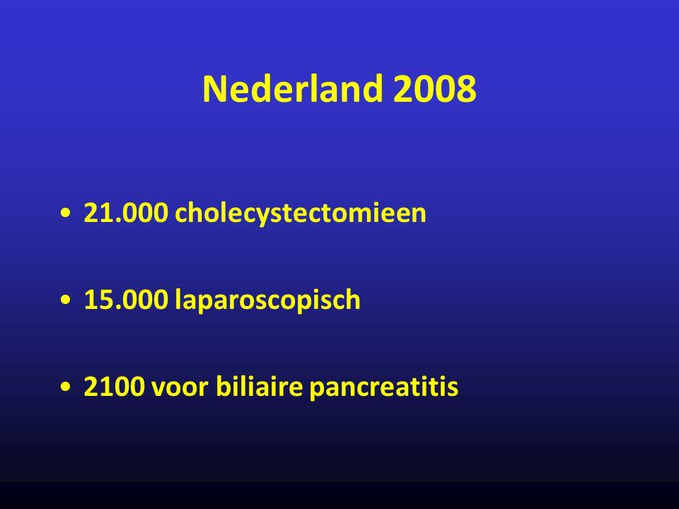 Nederland 2008 21.000 cholecystectomieen 15.000 laparoscopisch 2100 voor biliaire pancreatitis