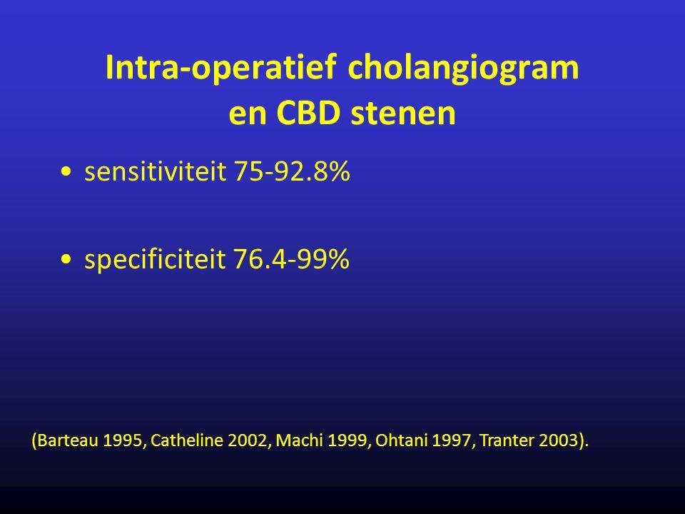 Intra-operatief cholangiogram en CBD stenen sensitiviteit 75-92.8% specificiteit 76.4-99% (Barteau 1995, Catheline 2002, Machi 1999, Ohtani 1997, Tran