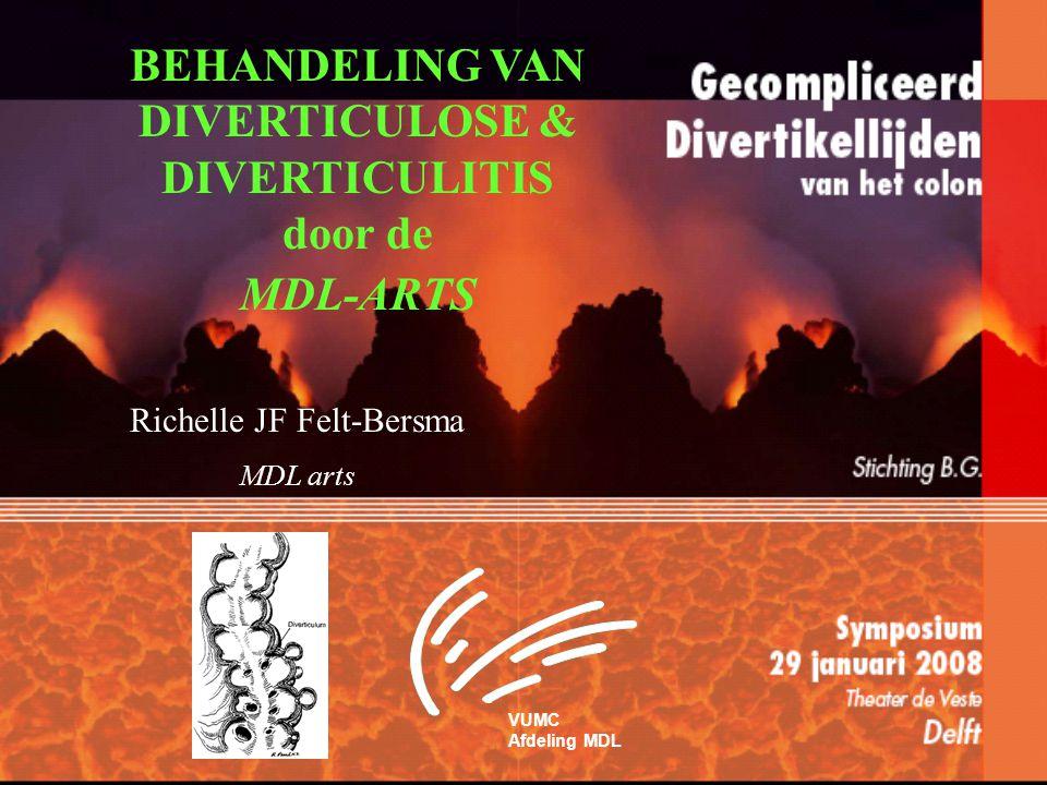 Definitie Diverticulosis: –asymptomatische divertikels Divertikel ziekte ( Diverticular disease ): –divertikels met symptomen Diverticulitis: –ontstoken divertikels (koorts, tachycardie) met of zonder lokale symptomen of verschijnselen Gecompliceerde diverticulitis: –perforatie, abscess, fisteling, strictuur/ obstructie