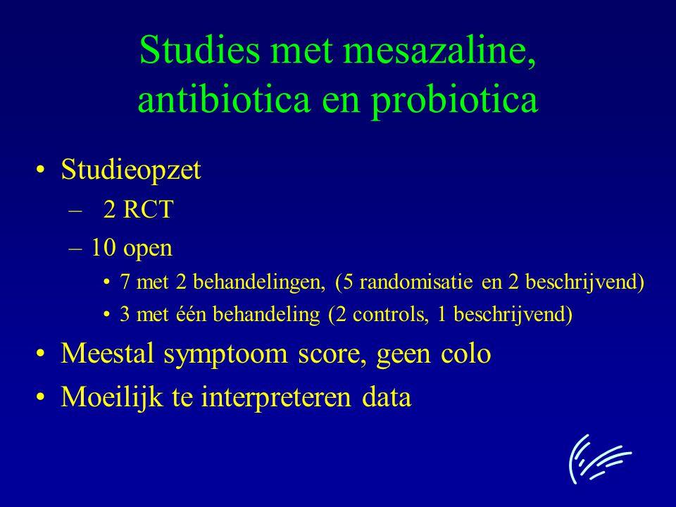 Studies met mesazaline, antibiotica en probiotica Studieopzet – 2 RCT –10 open 7 met 2 behandelingen, (5 randomisatie en 2 beschrijvend) 3 met één beh