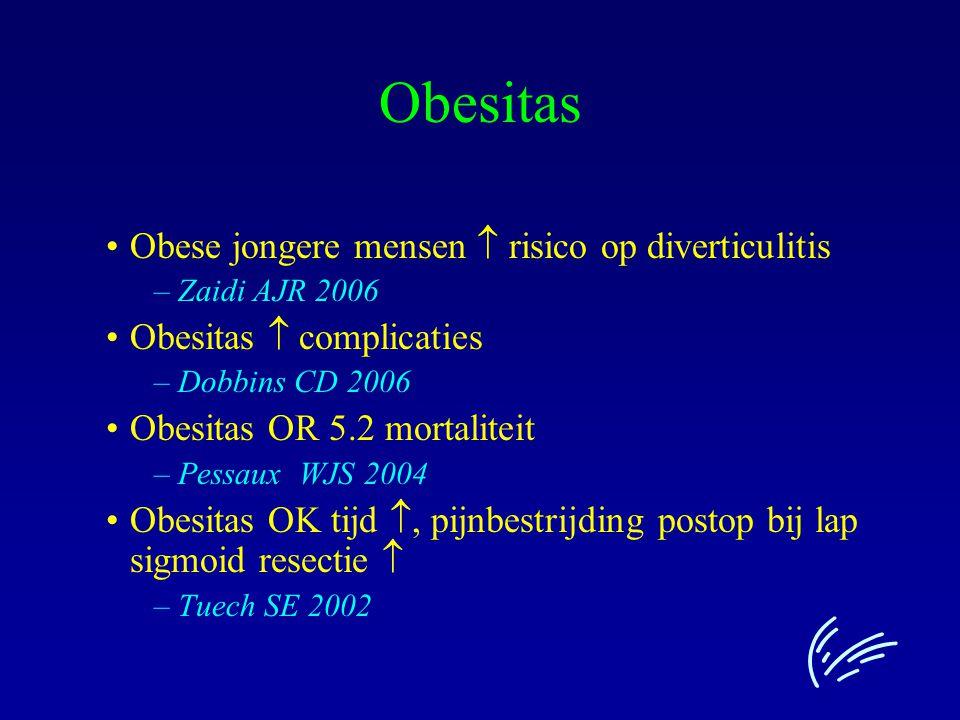 Obese jongere mensen  risico op diverticulitis –Zaidi AJR 2006 Obesitas  complicaties –Dobbins CD 2006 Obesitas OR 5.2 mortaliteit –Pessaux WJS 2004