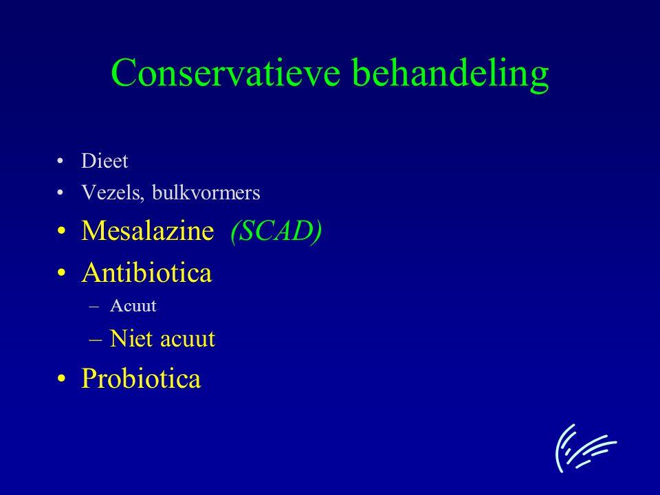 Conservatieve behandeling Dieet Vezels, bulkvormers Mesalazine (SCAD) Antibiotica –Acuut –Niet acuut Probiotica