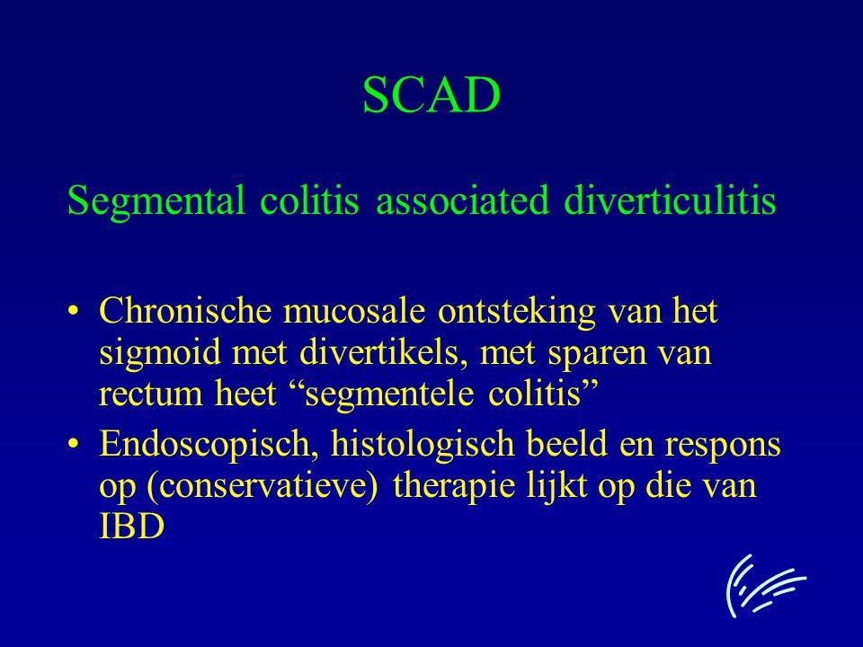 """SCAD Segmental colitis associated diverticulitis Chronische mucosale ontsteking van het sigmoid met divertikels, met sparen van rectum heet """"segmentel"""