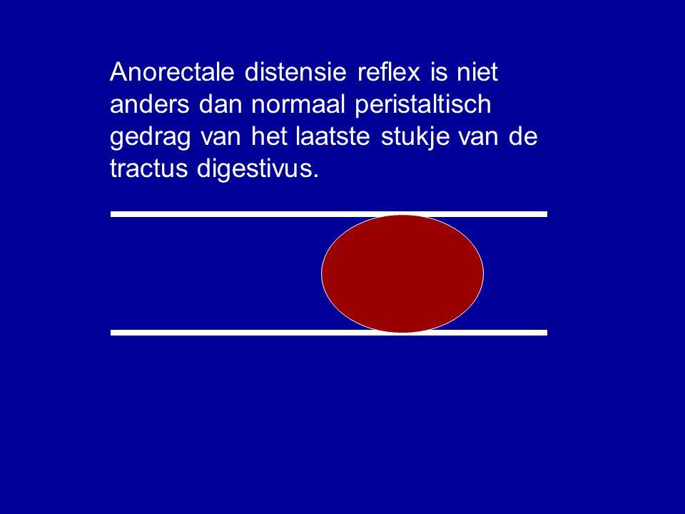 Anorectale distensie reflex is niet anders dan normaal peristaltisch gedrag van het laatste stukje van de tractus digestivus.