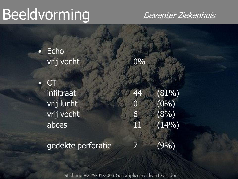 Deventer Ziekenhuis Stichting BG 29-01-2008 Gecompliceerd divertikellijden Echo vrij vocht 0% CT infiltraat 44(81%) vrij lucht 0(0%) vrij vocht 6 (8%)