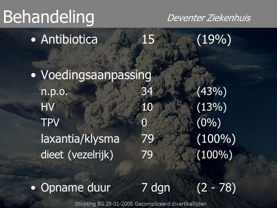 Deventer Ziekenhuis Stichting BG 29-01-2008 Gecompliceerd divertikellijden Antibiotica15(19%) Voedingsaanpassing n.p.o.34(43%) HV10(13%) TPV0 (0%) lax