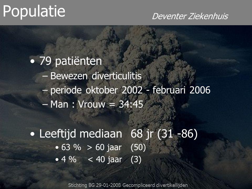 Deventer Ziekenhuis Stichting BG 29-01-2008 Gecompliceerd divertikellijden Vasculair22 % (17) Diabetes 19 % (15) Cardiaal 18 % (14) Maligniteit16 % (13) Pulmonaal 15 % (12) Neurologisch15 % (12) Renaal 5 % (4) Anders 16 % (13) Co-morbiditeit