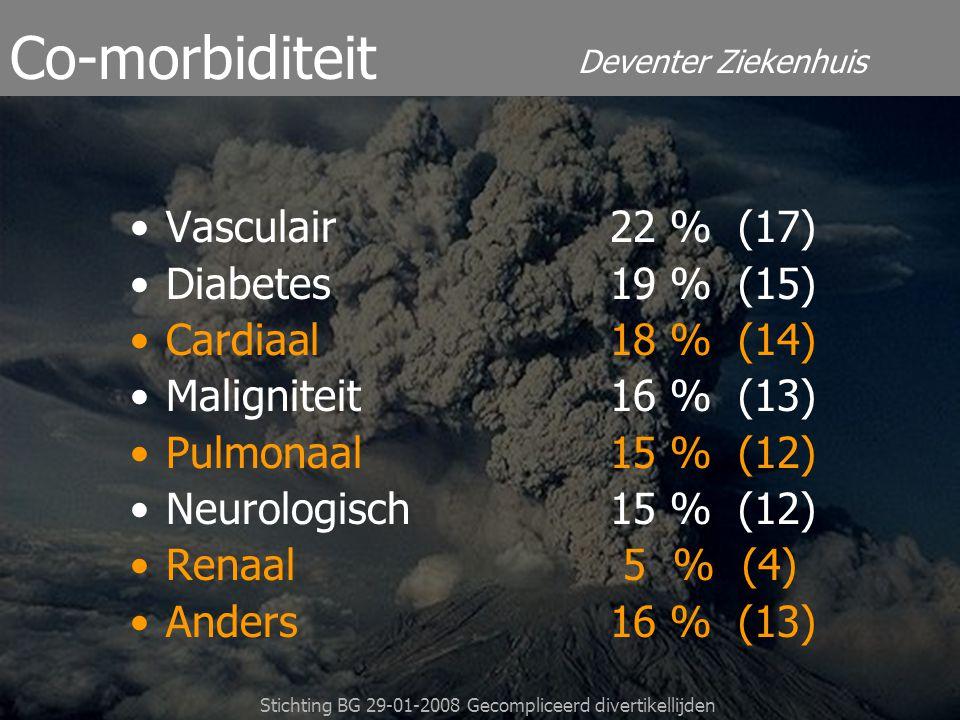 Deventer Ziekenhuis Stichting BG 29-01-2008 Gecompliceerd divertikellijden Vasculair22 % (17) Diabetes 19 % (15) Cardiaal 18 % (14) Maligniteit16 % (1