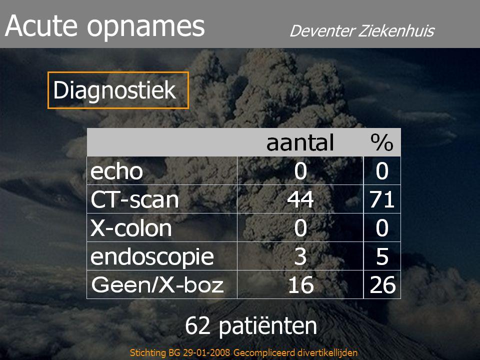 Deventer Ziekenhuis Acute opnames Stichting BG 29-01-2008 Gecompliceerd divertikellijden Diagnostiek 62 patiënten