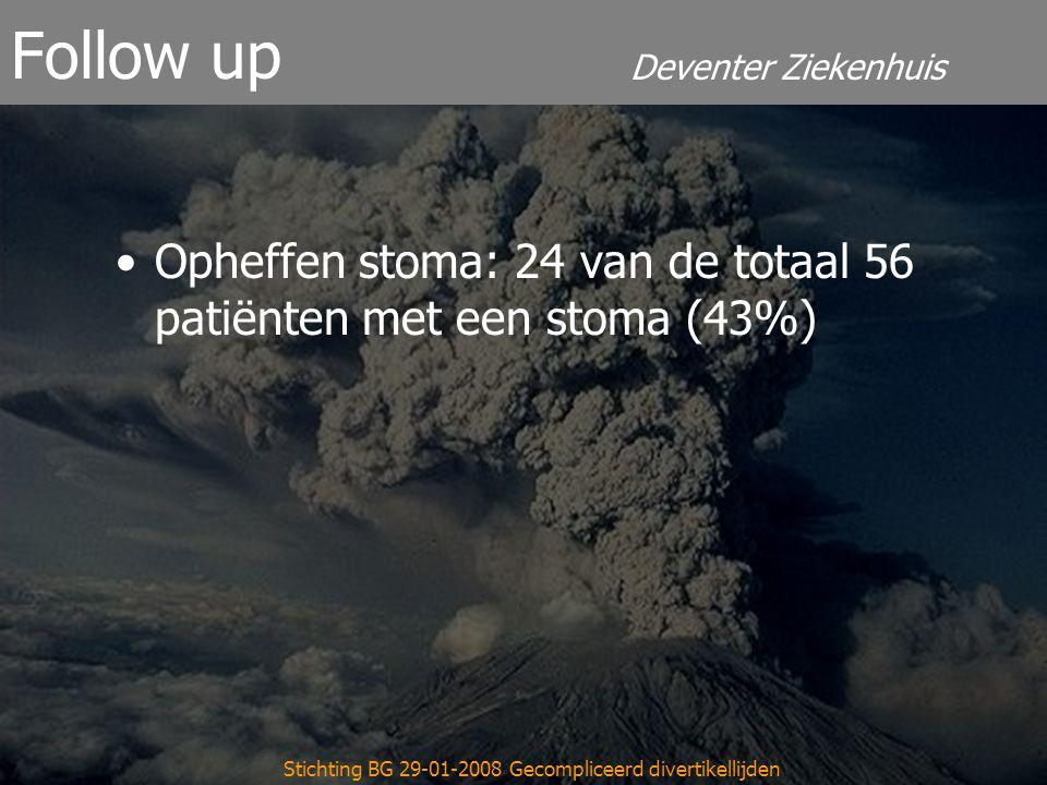 Deventer Ziekenhuis Follow up Opheffen stoma: 24 van de totaal 56 patiënten met een stoma (43%) Stichting BG 29-01-2008 Gecompliceerd divertikellijden