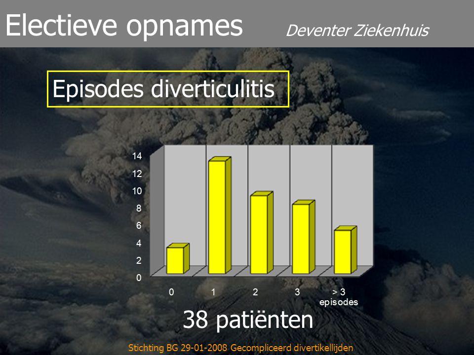 Deventer Ziekenhuis Electieve opnames Stichting BG 29-01-2008 Gecompliceerd divertikellijden 38 patiënten Episodes diverticulitis