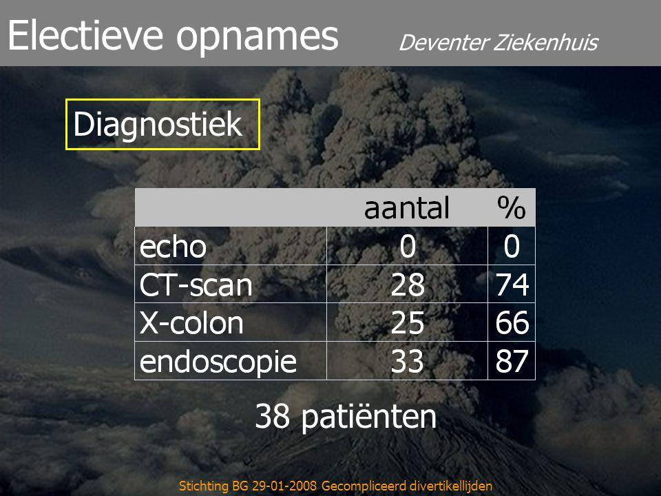Deventer Ziekenhuis Electieve opnames Stichting BG 29-01-2008 Gecompliceerd divertikellijden 38 patiënten Diagnostiek