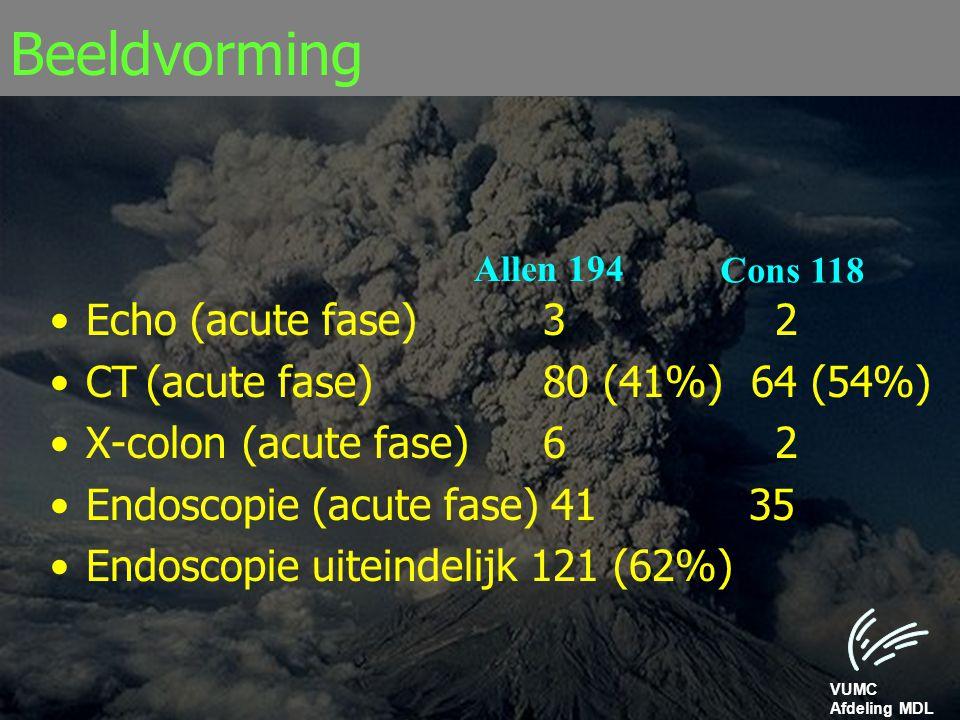 VUMC Afdeling MDL Beeldvorming Echo (acute fase) 3 2 CT(acute fase) 80 (41%) 64 (54%) X-colon(acute fase) 6 2 Endoscopie (acute fase) 41 35 Endoscopie