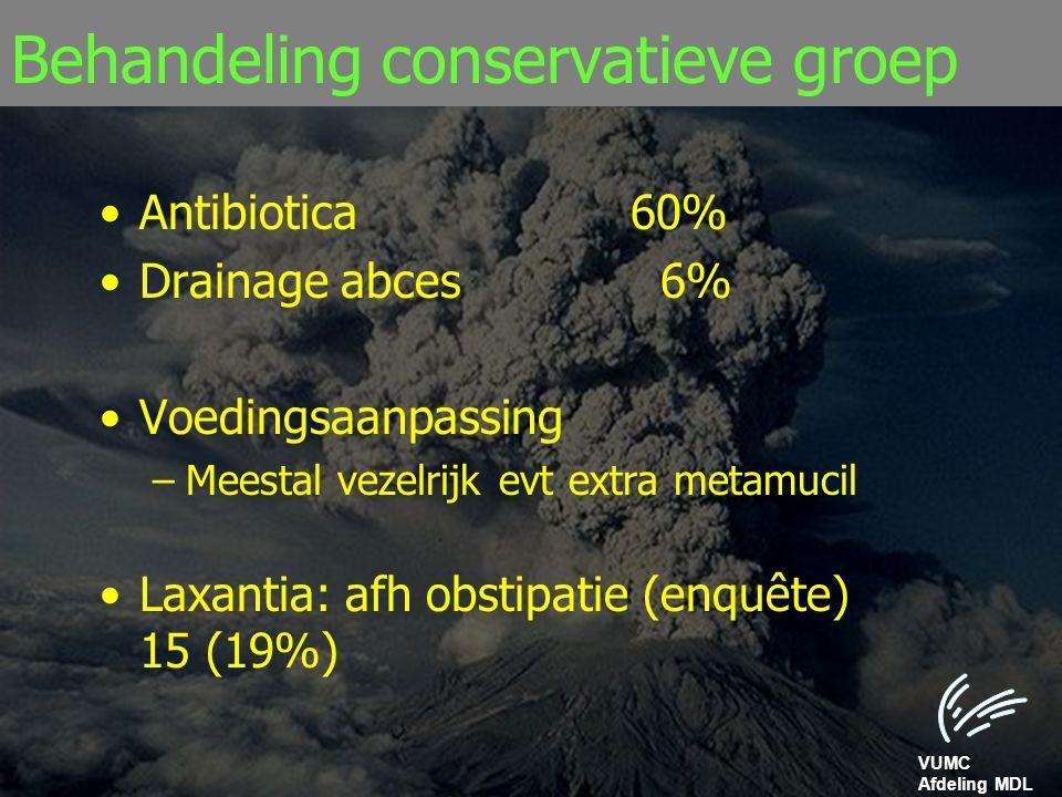 VUMC Afdeling MDL Behandeling conservatieve groep Antibiotica60% Drainage abces 6% Voedingsaanpassing –Meestal vezelrijk evt extra metamucil Laxantia: