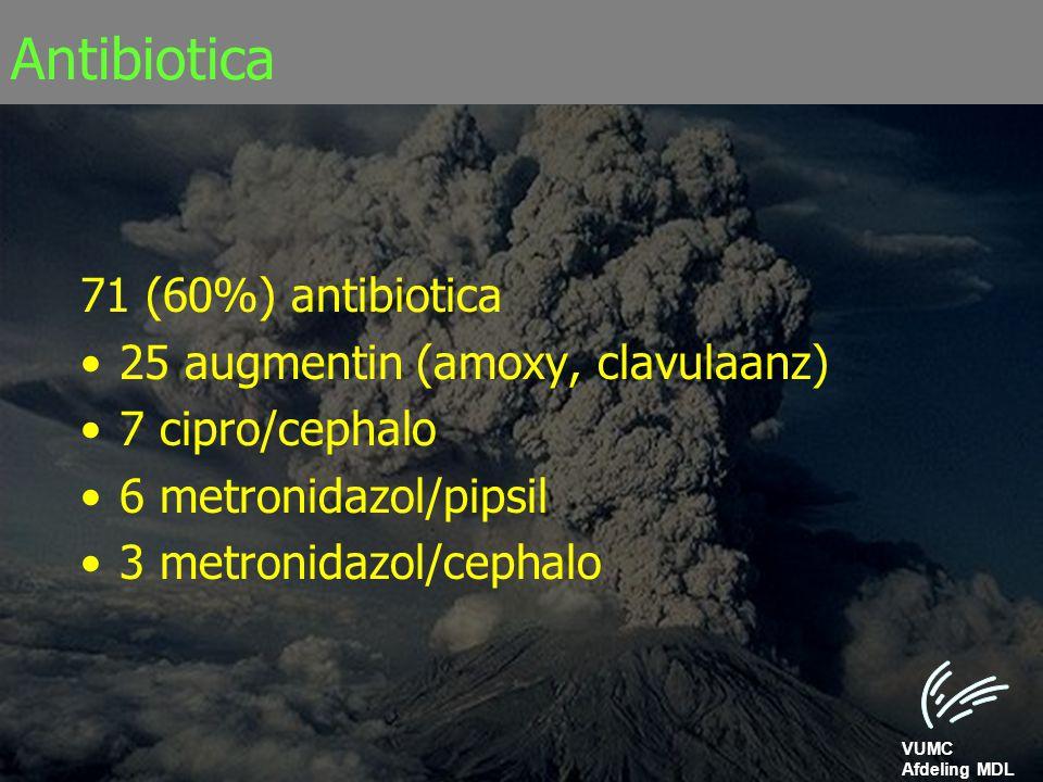 VUMC Afdeling MDL Antibiotica 71 (60%) antibiotica 25 augmentin (amoxy, clavulaanz) 7 cipro/cephalo 6 metronidazol/pipsil 3 metronidazol/cephalo