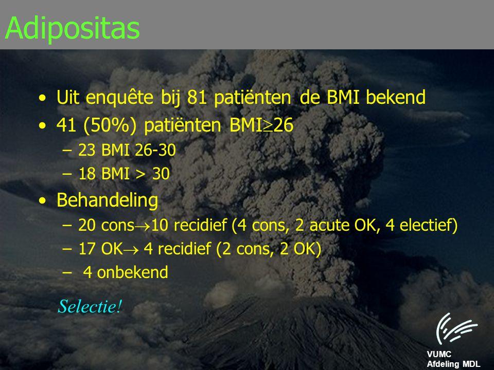 VUMC Afdeling MDL Adipositas Uit enquête bij 81 patiënten de BMI bekend 41 (50%) patiënten BMI  26 –23 BMI 26-30 –18 BMI > 30 Behandeling –20 cons 