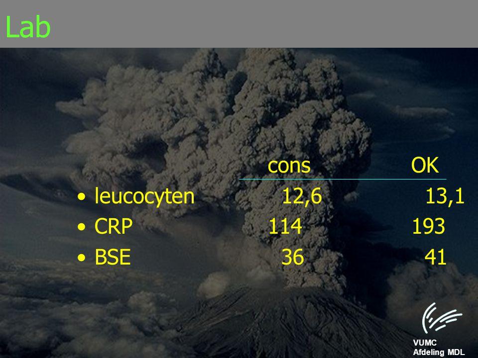 VUMC Afdeling MDL Lab consOK leucocyten 12,6 13,1 CRP114193 BSE 36 41