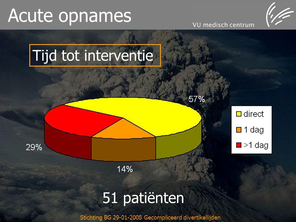 Stichting BG 29-01-2008 Gecompliceerd divertikellijden Acute opnames Tijd tot interventie 51 patiënten