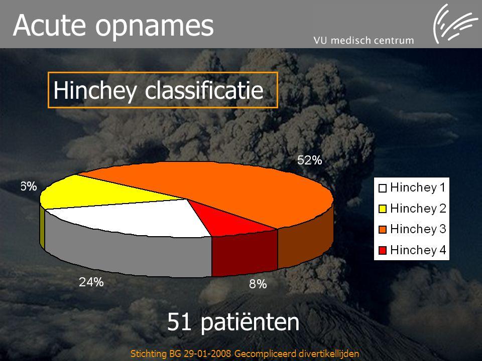 Stichting BG 29-01-2008 Gecompliceerd divertikellijden Acute opnames Hinchey classificatie 51 patiënten