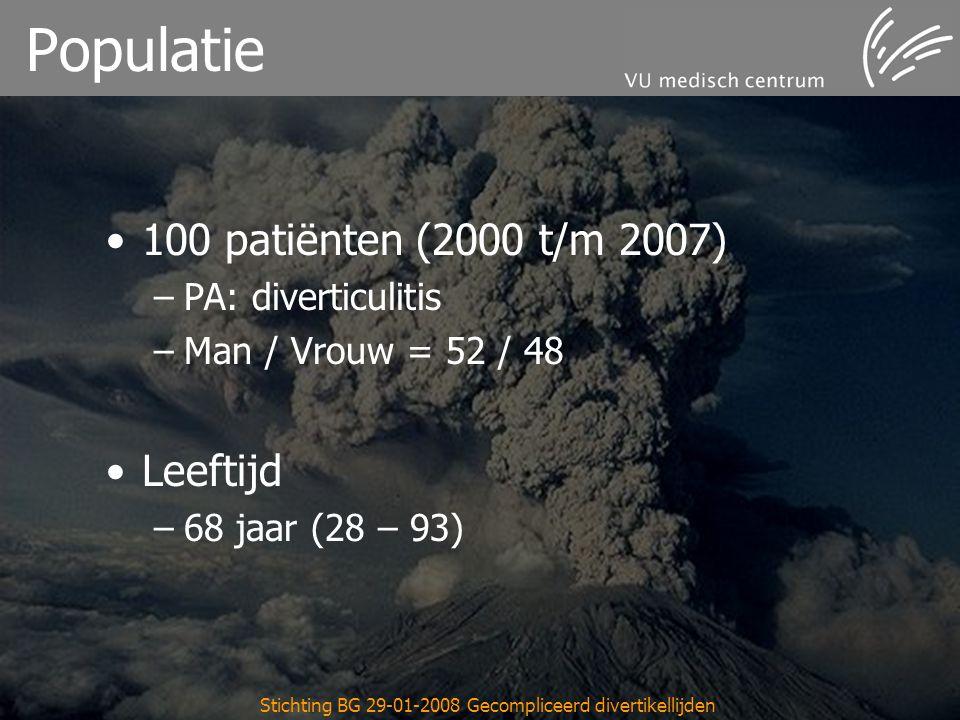Stichting BG 29-01-2008 Gecompliceerd divertikellijden Populatie 100 patiënten (2000 t/m 2007) –PA: diverticulitis –Man / Vrouw = 52 / 48 Leeftijd –68 jaar (28 – 93)