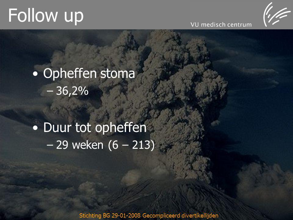 Stichting BG 29-01-2008 Gecompliceerd divertikellijden Follow up Opheffen stoma –36,2% Duur tot opheffen –29 weken (6 – 213)