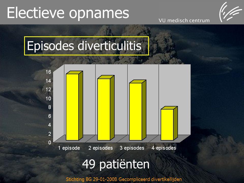 Stichting BG 29-01-2008 Gecompliceerd divertikellijden Electieve opnames 49 patiënten Episodes diverticulitis