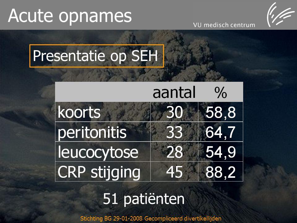 Stichting BG 29-01-2008 Gecompliceerd divertikellijden Acute opnames 51 patiënten Presentatie op SEH