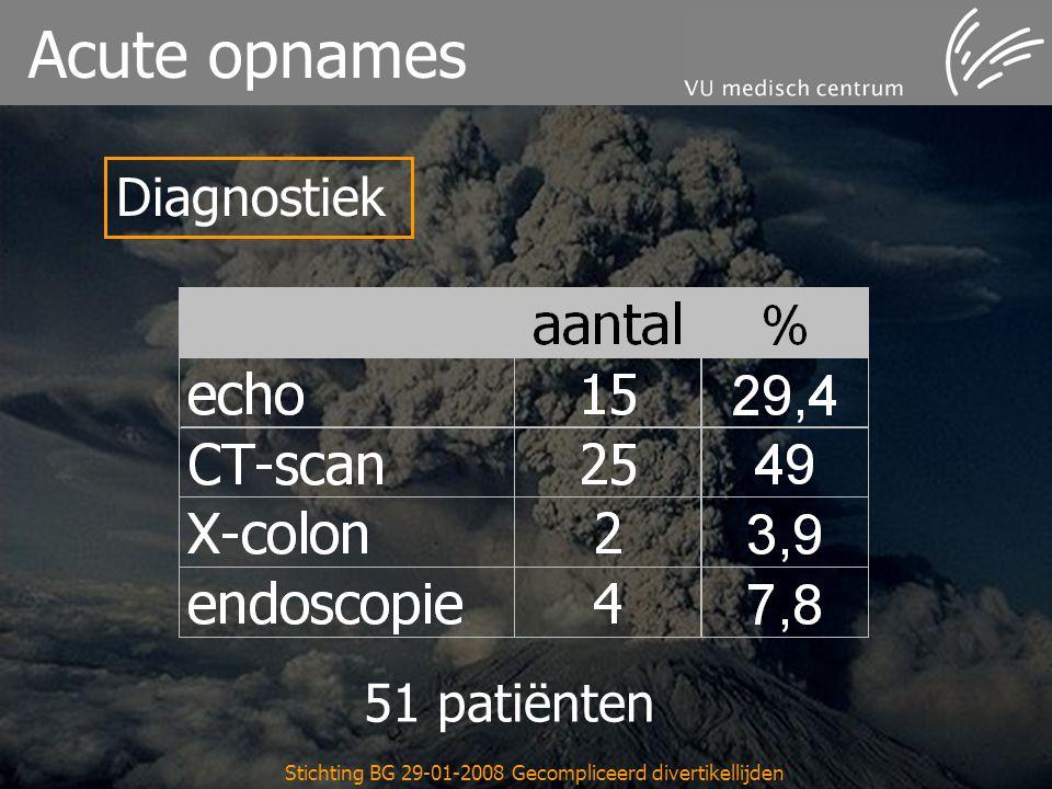 Stichting BG 29-01-2008 Gecompliceerd divertikellijden Acute opnames Diagnostiek 51 patiënten