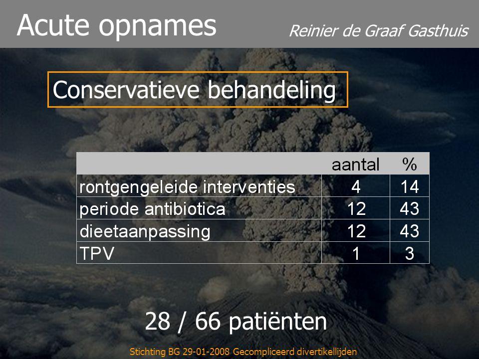 Reinier de Graaf Gasthuis Stichting BG 29-01-2008 Gecompliceerd divertikellijden Acute opnames Conservatieve behandeling 28 / 66 patiënten