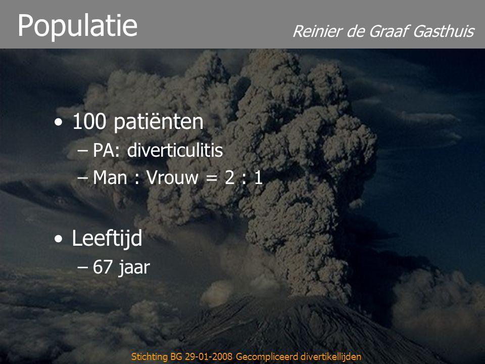 Reinier de Graaf Gasthuis Stichting BG 29-01-2008 Gecompliceerd divertikellijden Populatie 100 patiënten –PA: diverticulitis –Man : Vrouw = 2 : 1 Leeftijd –67 jaar