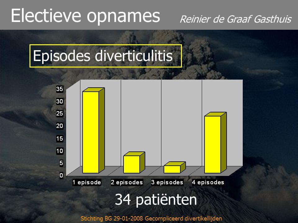 Reinier de Graaf Gasthuis Stichting BG 29-01-2008 Gecompliceerd divertikellijden Electieve opnames 34 patiënten Episodes diverticulitis