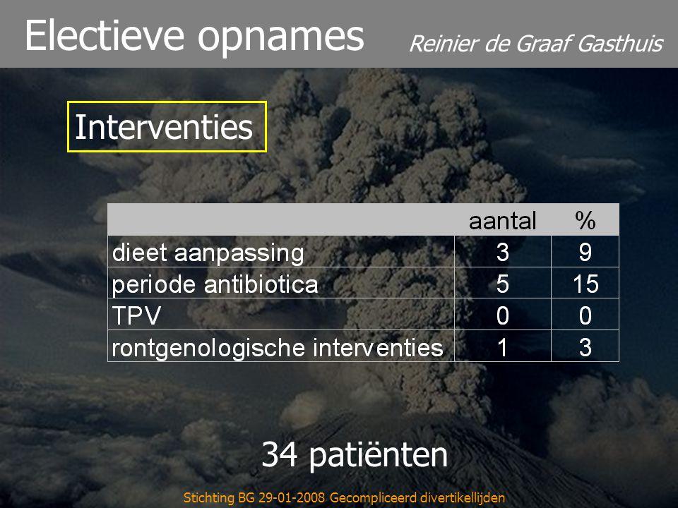 Reinier de Graaf Gasthuis Stichting BG 29-01-2008 Gecompliceerd divertikellijden Electieve opnames 34 patiënten Interventies