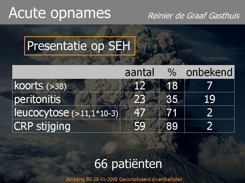 Reinier de Graaf Gasthuis Stichting BG 29-01-2008 Gecompliceerd divertikellijden Acute opnames 66 patiënten Presentatie op SEH