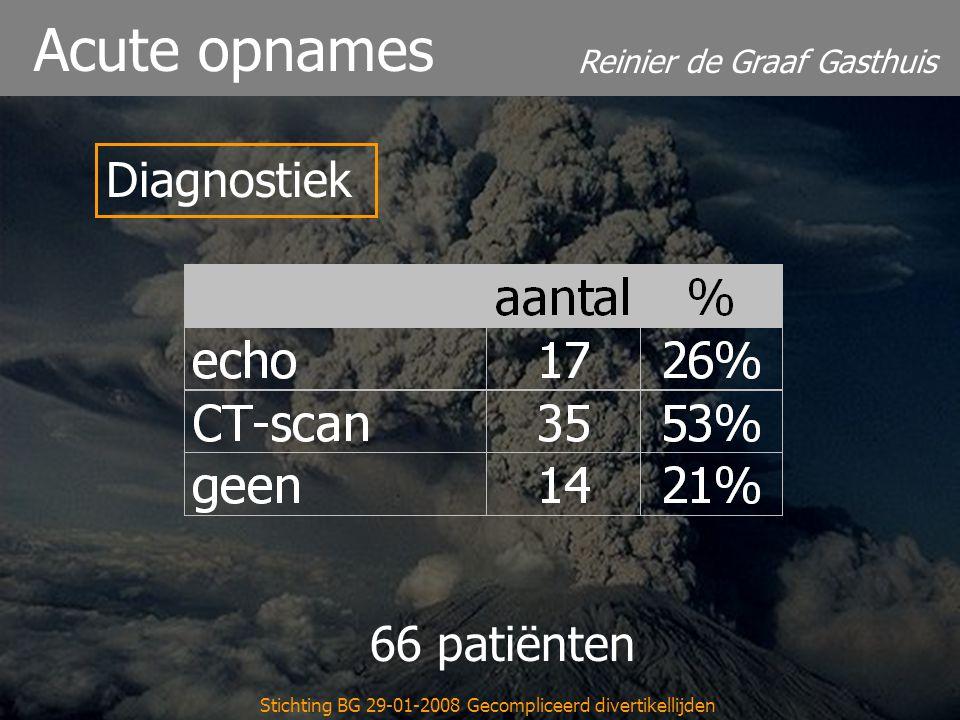 Reinier de Graaf Gasthuis Stichting BG 29-01-2008 Gecompliceerd divertikellijden Acute opnames Tijd tot interventie 66 patiënten