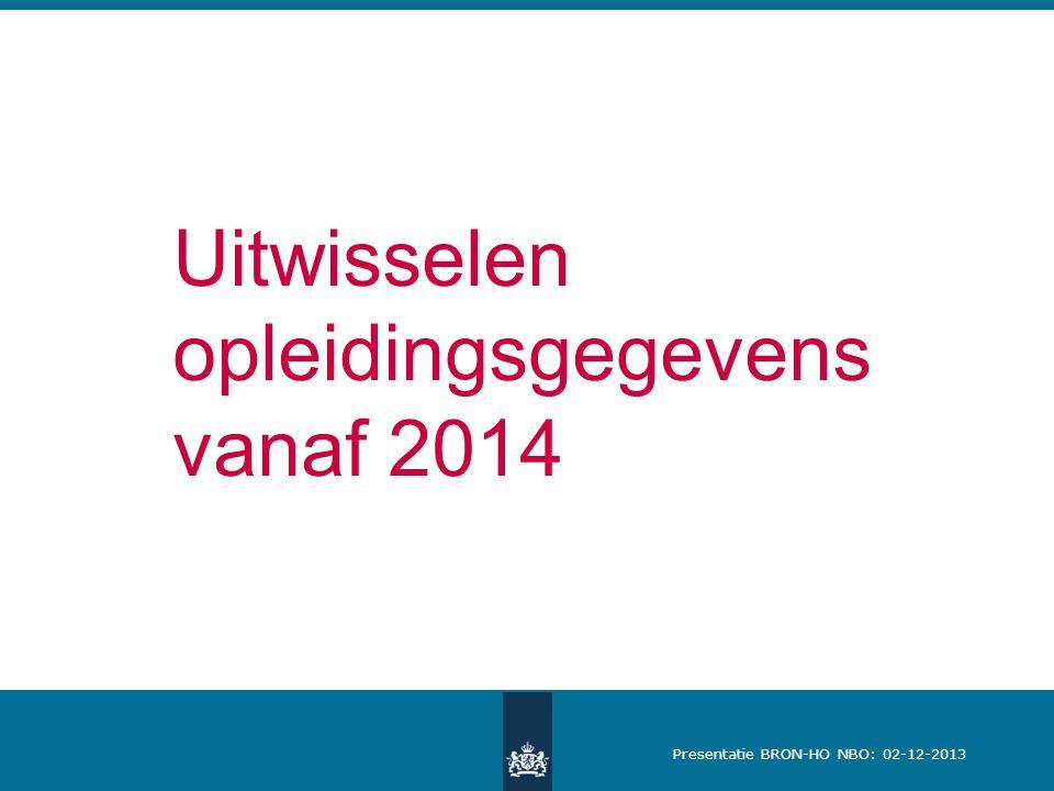 Presentatie BRON-HO NBO: 02-12-2013 Uitwisselen opleidingsgegevens vanaf 2014