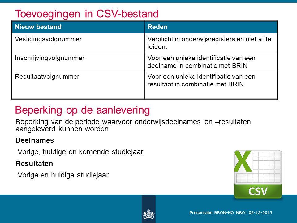 Presentatie BRON-HO NBO: 02-12-2013 Toevoegingen in CSV-bestand Nieuw bestandReden VestigingsvolgnummerVerplicht in onderwijsregisters en niet af te leiden.