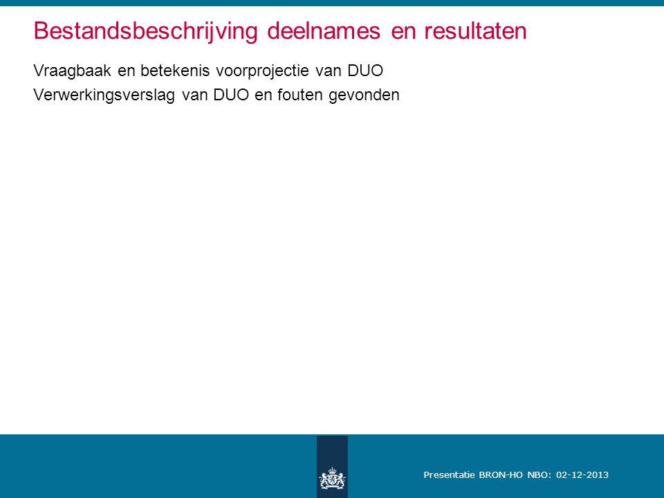 Presentatie BRON-HO NBO: 02-12-2013 Vraagbaak en betekenis voorprojectie van DUO Verwerkingsverslag van DUO en fouten gevonden Bestandsbeschrijving deelnames en resultaten
